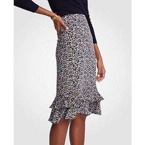 NWT ann taylor ruffled pencil skirt size 14 floral